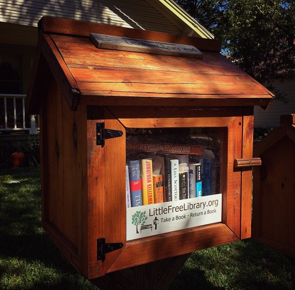 Free library in the yard - take a book, leave a book